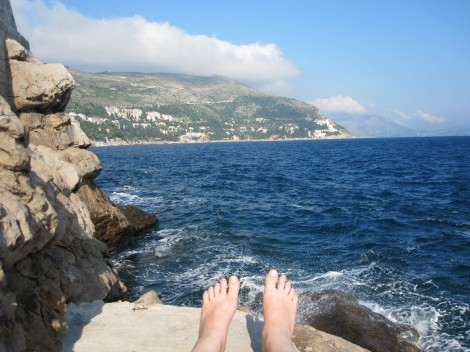 My toes, loving the Croatian sun in Dubrovnik.