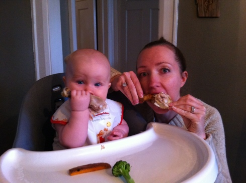 8 Month Old Linden enjoying dinner--baby-led weanng style (don't know what that is? Google it.)