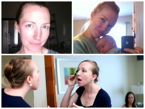 Makeup Free (top left), daily makeup (top right), getting ready for a wedding (bottom)