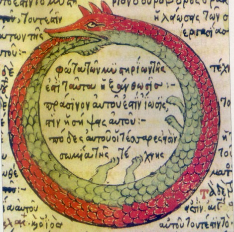 Ouroboros drawing from a late medieval Byzantine Greek alchemical manuscript. Fol. 196 of Codex Parisinus graecus 2327, a copy (made by Theodoros Pelecanos (Pelekanos) of Corfu in Khandak, Iraklio, Crete in 1478) of a lost manuscript of an early medieval tract which was attributed to Synosius (Synesius) of Cyrene (d. 412). Wikipedia