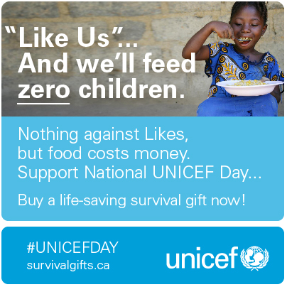 "From UNICEF's ""Likes Don't Save Lives"" campaign"