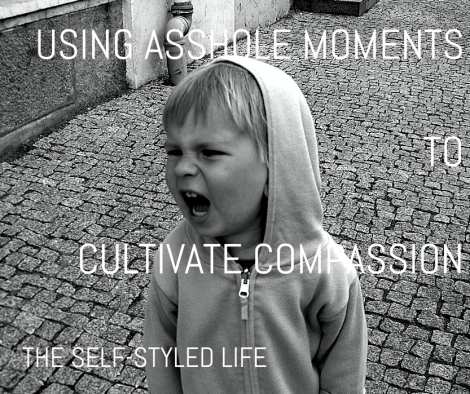 """Using Asshole Moments to Cultivate Compassion"" on the self-styled life [photo by Mindaugus Danys on Flickr (text added)]"